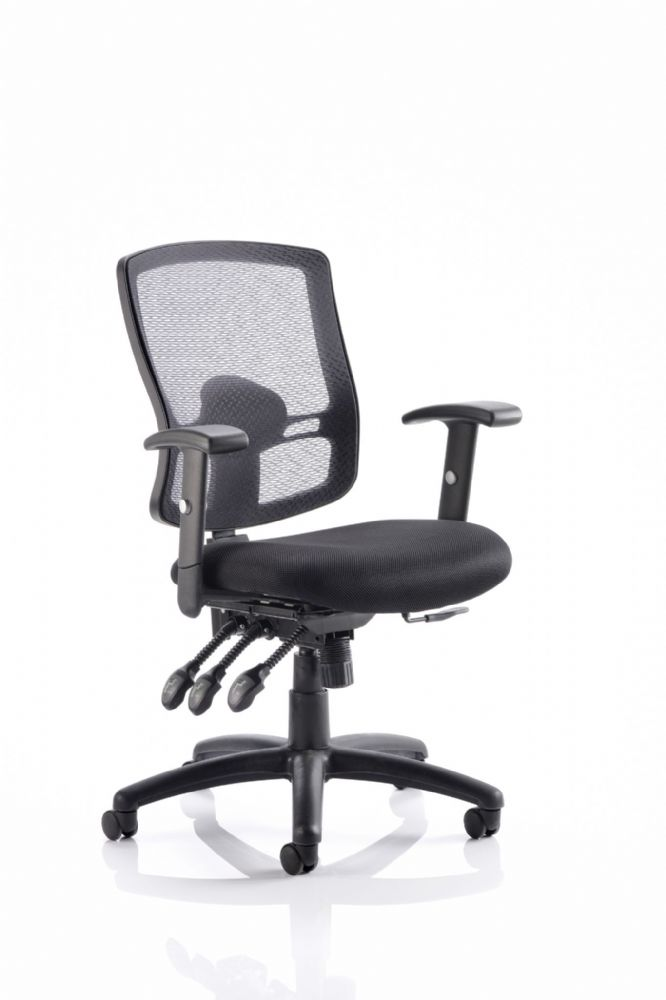 Portland 3 Mesh Back Operator Chair 3 Lever Mech  Task Office Mesh Back Adj. Arms Various Colours
